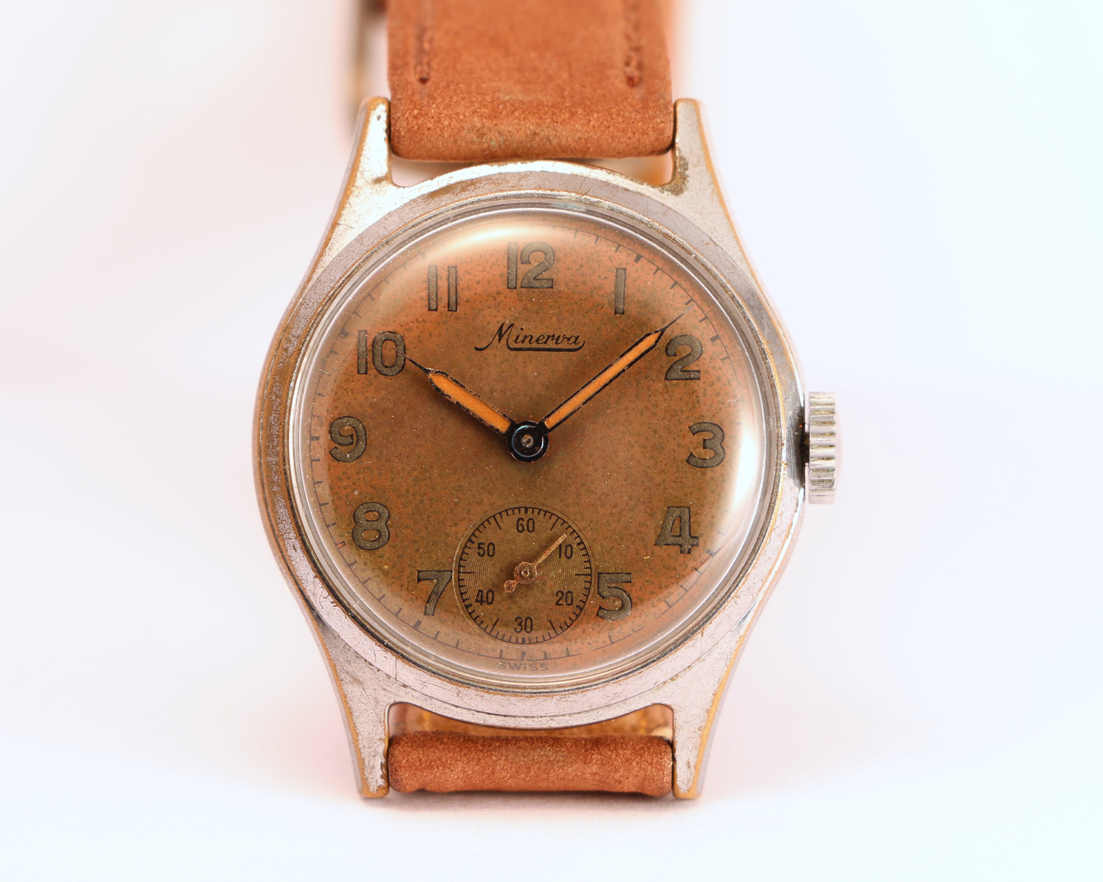 145fd5d2d6f Minerva military style tropical dial – Brussels Vintage Watches